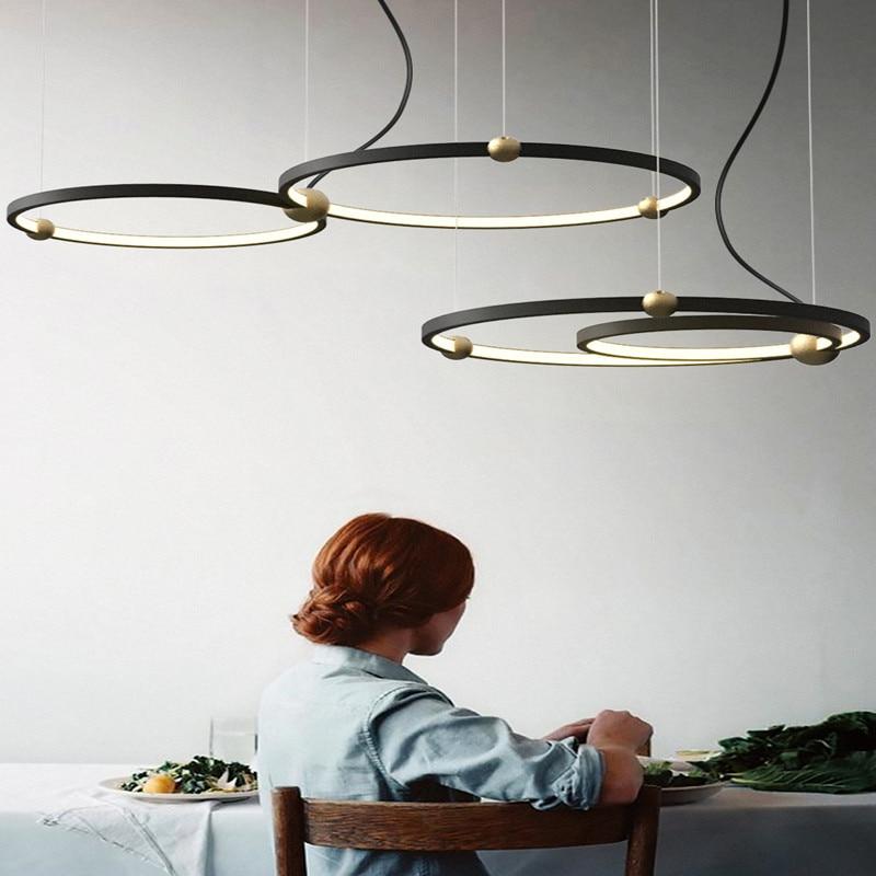 Северная Европа дизайнер Led подвесной светильник креативный чердак круг столовая подвесные светильники ретро Led отель Вилла деко огни