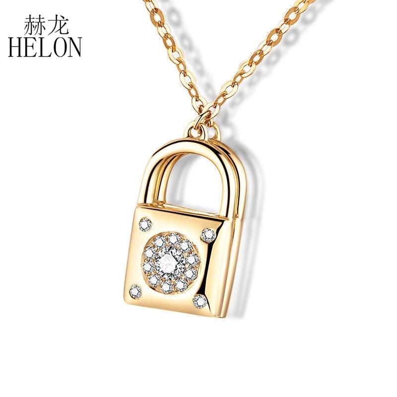 HELON Three Style Solid 18K Yellow Gold 100% Genuine Natural Diamonds Lock Heart Chain Pendant Engagement Wedding Women Jewelry