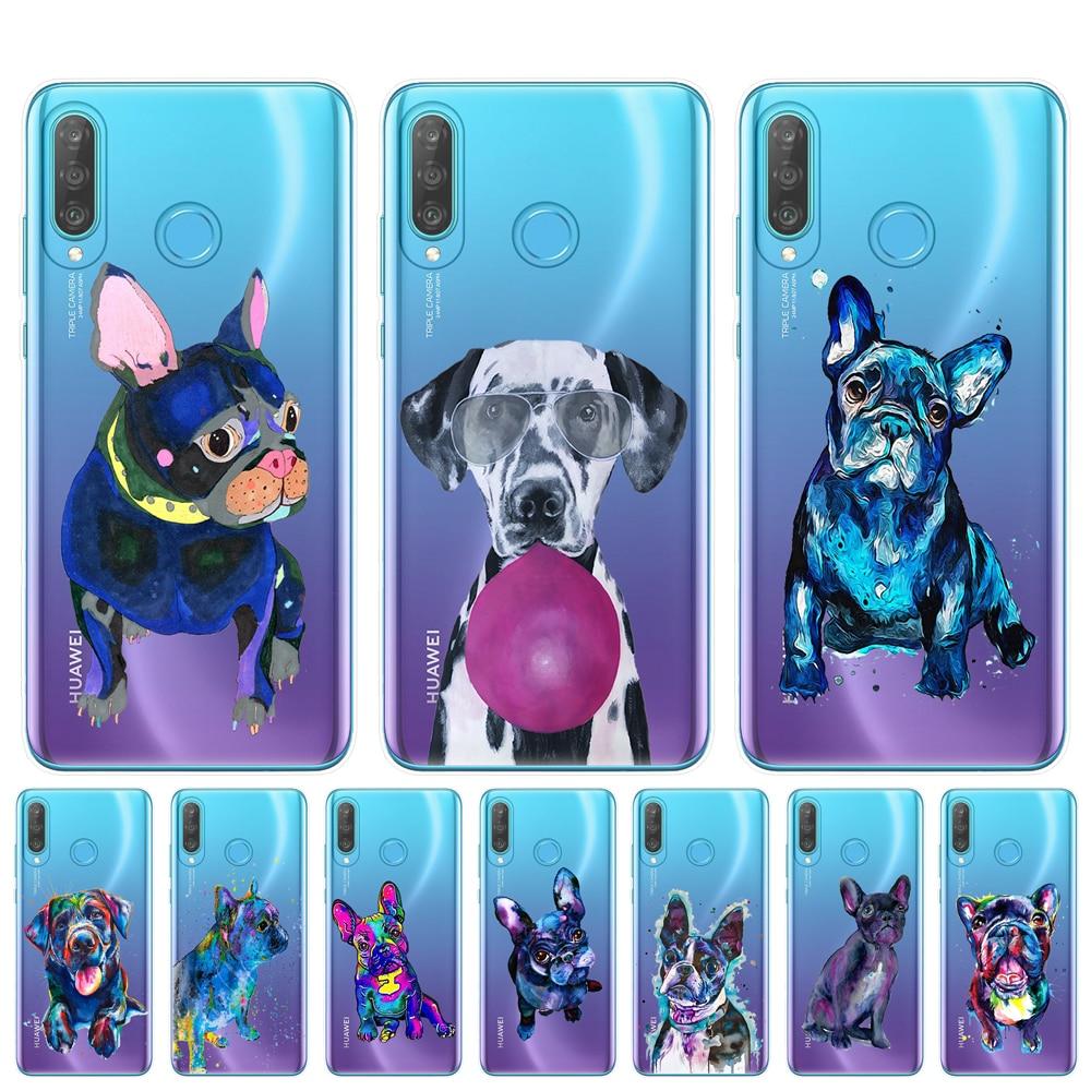Teckel bouledogue français chien ptu Coque pour Huawei P8 P9 Lite 2017 P10 P20 P30 Honor Mate 10 20 Lite Pro housse téléphone sacs