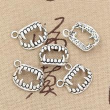 15 pièces breloques Vampire Dracula crocs dents 17x12mm Antique faisant pendentif ajustement, couleur argent tibétain Vintage, bricolage bijoux faits à la main