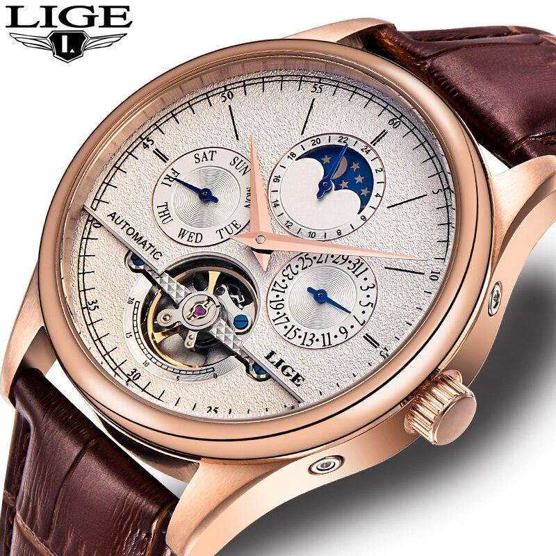 Мужские часы LIGE, спортивные, водонепроницаемые, автоматические, механические