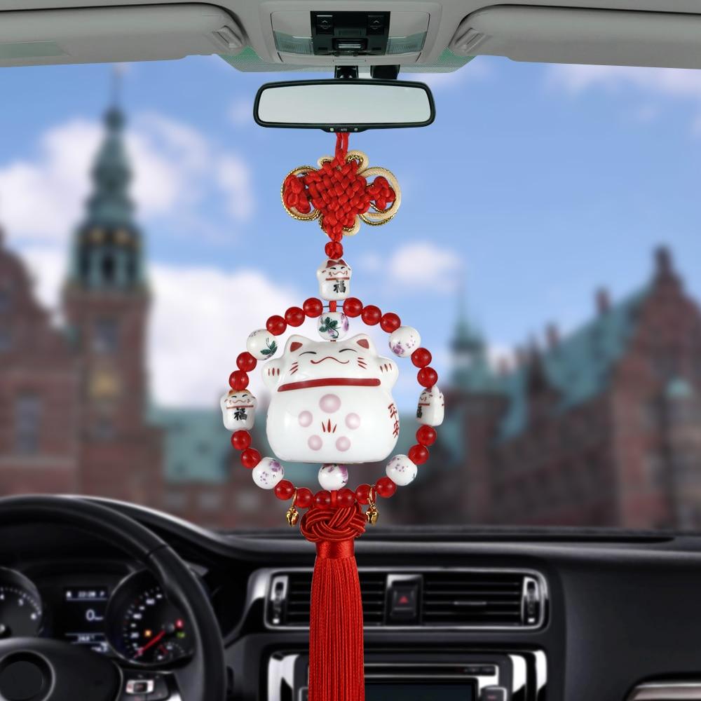 Car Pendant Smiling Lucky Cat Car Rearview Mirror Decoration Cartoon Auto Interior Tassels Ornament Accessory Dangle Trim Gift