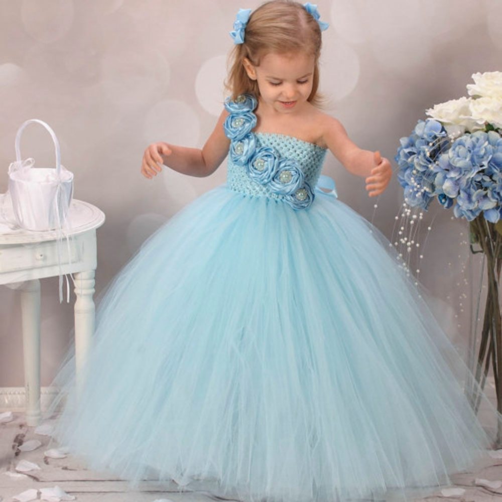 Blue Girl Dress Flower Causal Baby Girl Tutu Dress Birthday Wedding Performance Kids Clothing for Girls Size 2-10Y