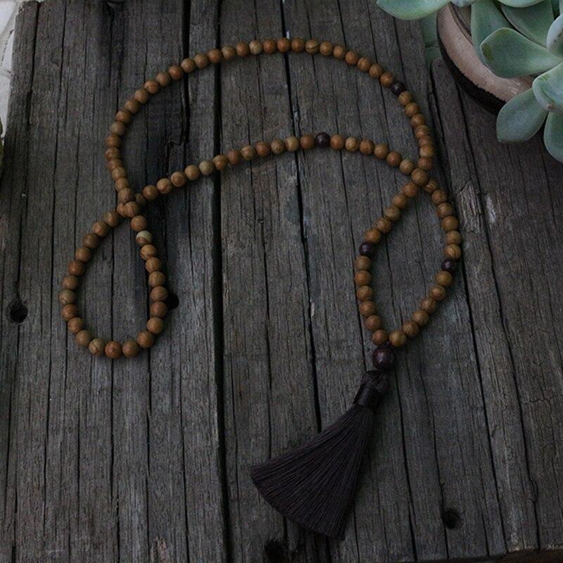 100% cuentas naturales de 8mm, piedra arenisca de grano de madera, jaspe rojo de flor, JapaMala, collar, Mala de 108 con cuentas de marcador de estilo Mantra