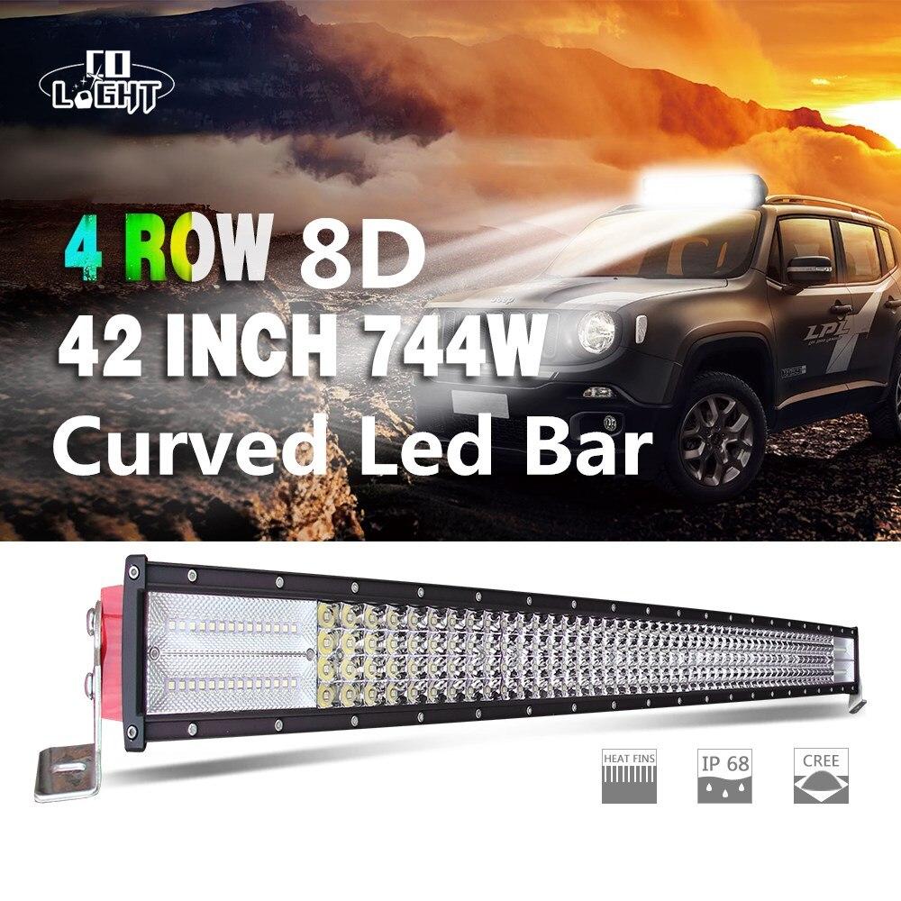 Barra de luces curvada de haz Combo CO LIGHT 8D de 42 pulgadas y 744W, luz de funcionamiento automático de 12V y 24V para Lada todoterreno Uaz 4WD, barra Led 4x4 para ATV