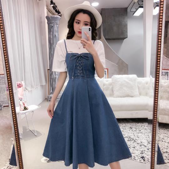 Spaghetti Strap Dress Women Sundress Summer Denim Dress Sleeveless Fit Flare Lace Up Slim Jeans Overalls Dresses AE468