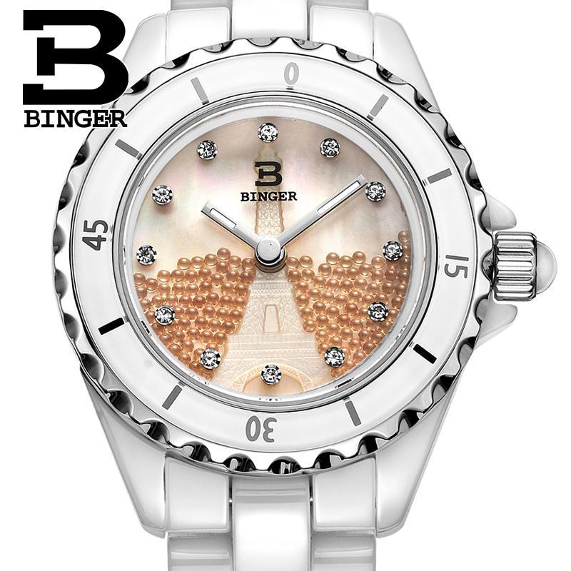 سويسرا بينغر الفضاء السيراميك المرأة الساعات الأزياء كوارتز ساعة جولة حجر الراين الساعات مقاومة للماء BG-8008L-2
