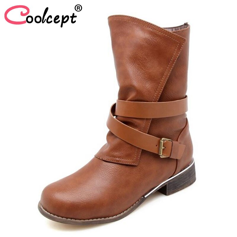 Coolcept tamaño 34-48 Mediados de pantorrilla Botas mujer hebilla cremallera zapatos de invierno mujer piel caliente punta redonda Botas Cruz Correa calzado