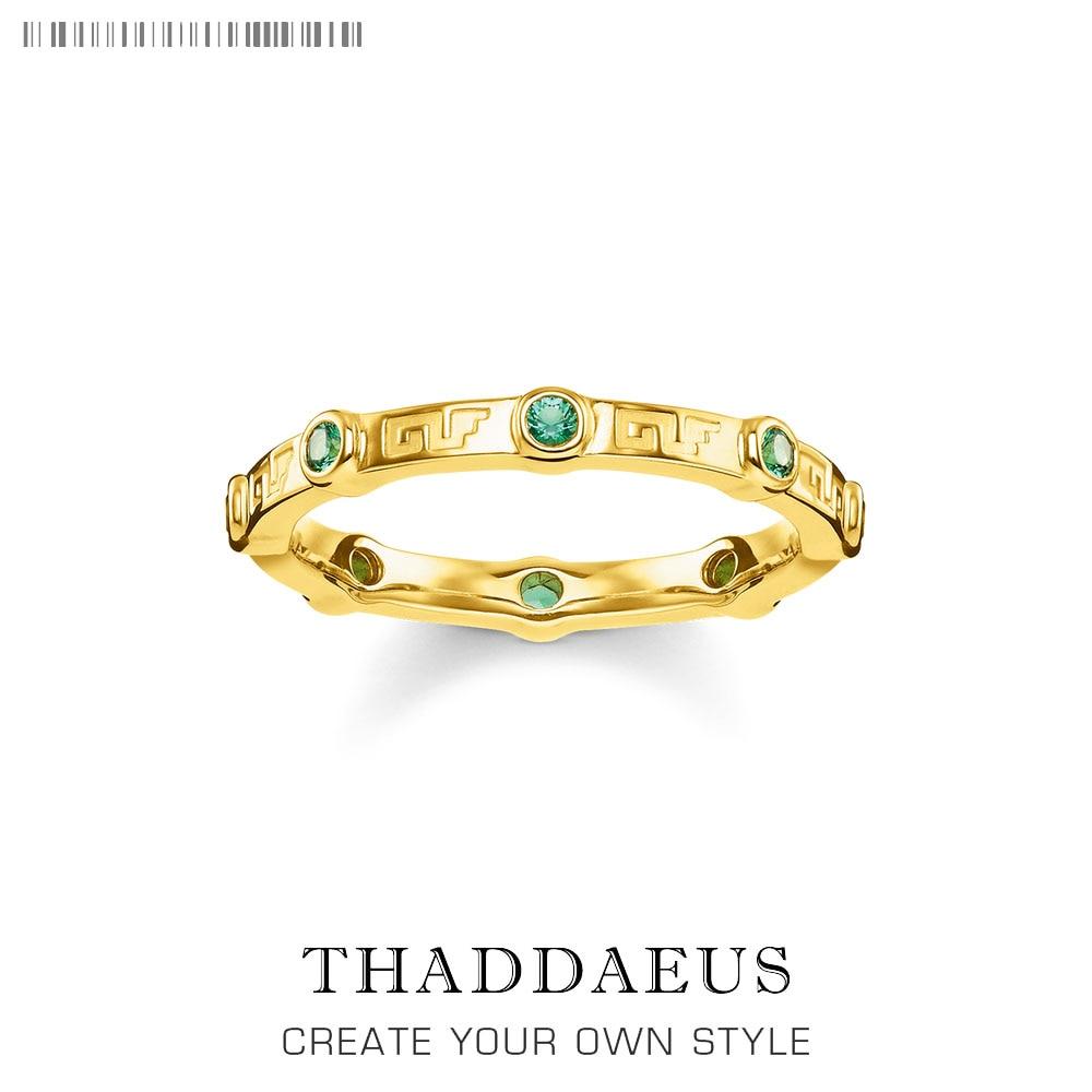 Anel de banda pedra verde dourado, marca novo estilo thomas glam moda boa jóias para as mulheres, 2019 ts presente em 925 prata esterlina