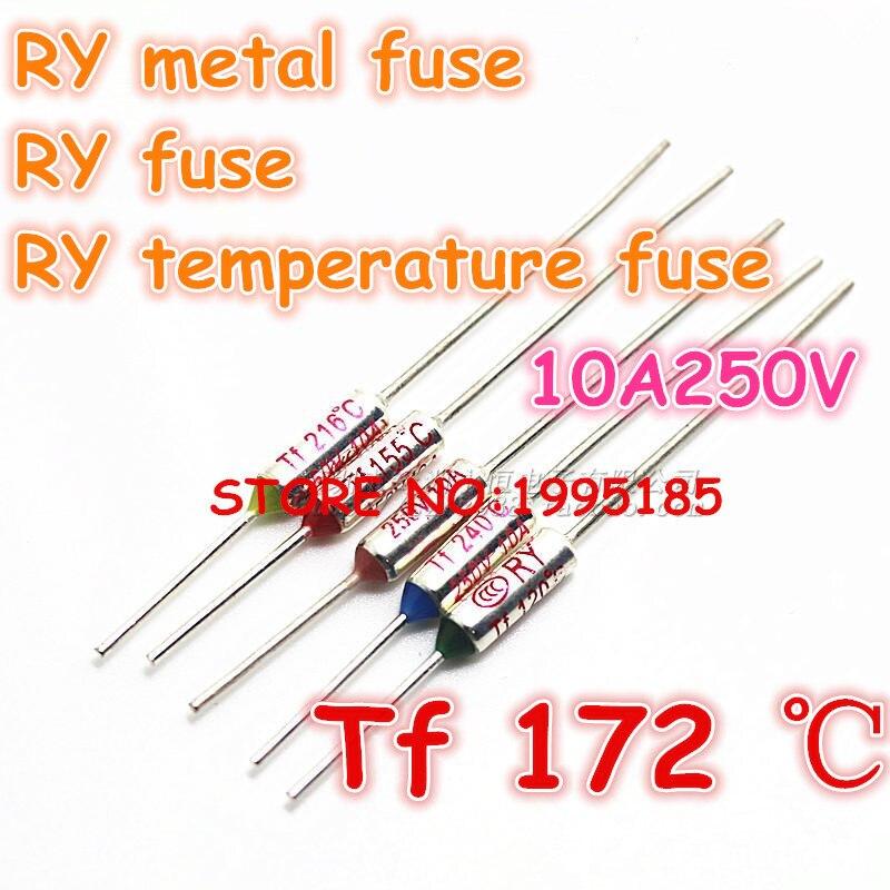 RY 100 шт./лот новый микро тепловой предохранитель 10A250V 172 градусов 172 C Мини температурный предохранитель металлический корпус Термопредохран...