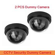 2 pcs 고품질 돔 미니 카메라 더미 카메라 cctv 플래시 깜박이 led 비디오 감시 홈 오피스 안전 카메라