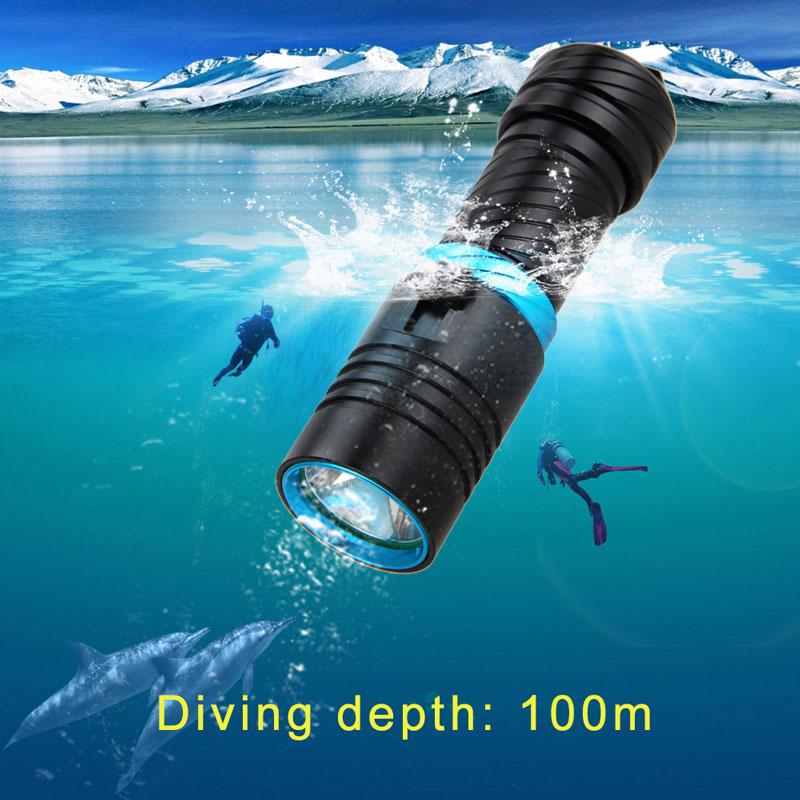 Ultrafire mergulho lanterna XM-L2 transmissor luz lâmpada tocha lanterna caça alumínio 18650 bateria (não inc