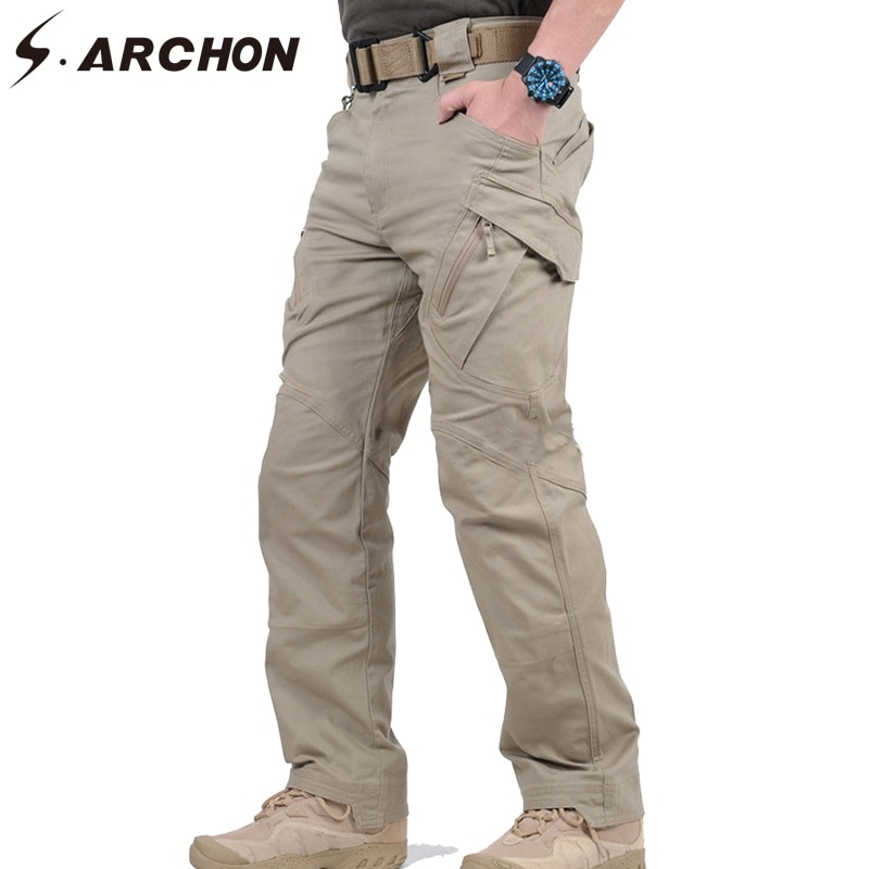 S.ARCHON-بنطلون كارجو تكتيكي للرجال ، ملابس قتالية سوات ، قطن ، مرن ، متعدد الجيوب ، كاجوال ، IX9
