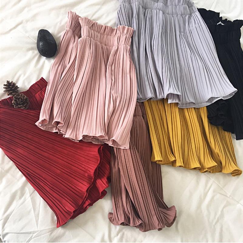 Saia plissada feminina, harajuku saias coreanas retrô de renda, cintura, chiffon, feminina, 2019