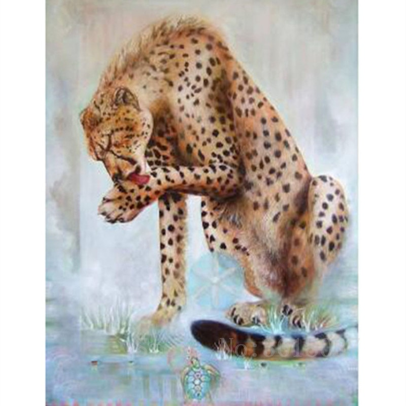 Diamant Diy Diamond Painting Cross Stitch Licking The Hands Of The Leopard Needlework Diamond Embroidery Full Diamond Decorative