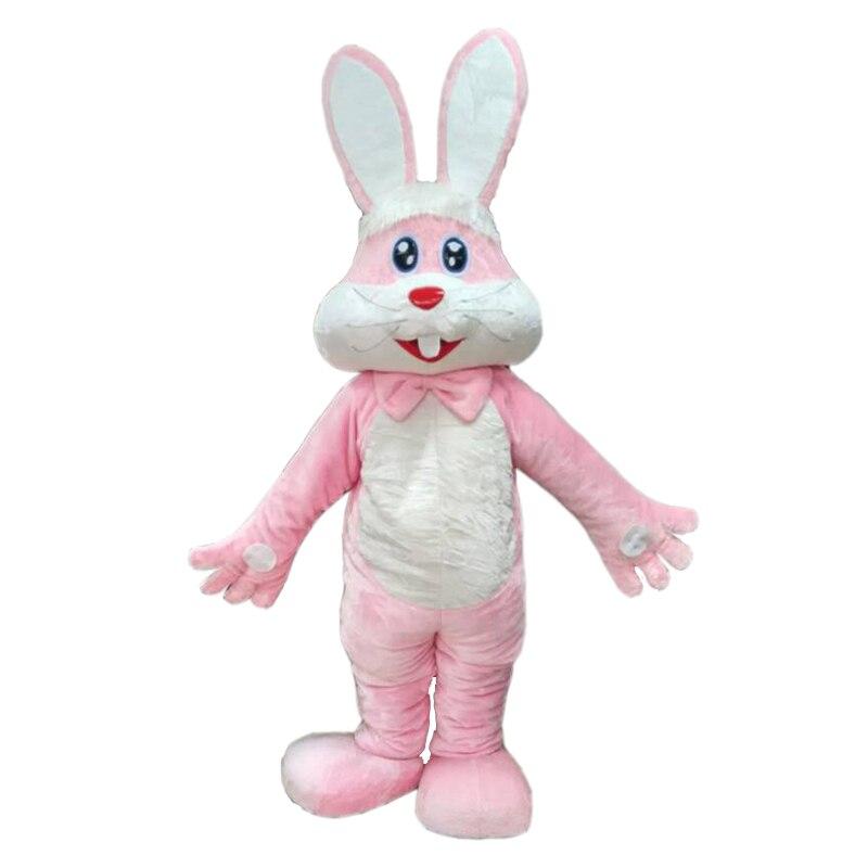 Disfraz de Mascota de conejo rosado peludo para adulto, Festival de carnaval, vestido de fiesta de publicidad comercial con un Mini ventilador en el interior de la cabeza