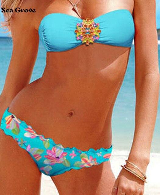 2016 New Sexy Women Padded Bra Swimsuit Rhinestone Beachwear Bikini Swimwear 9 Colors S/M/L