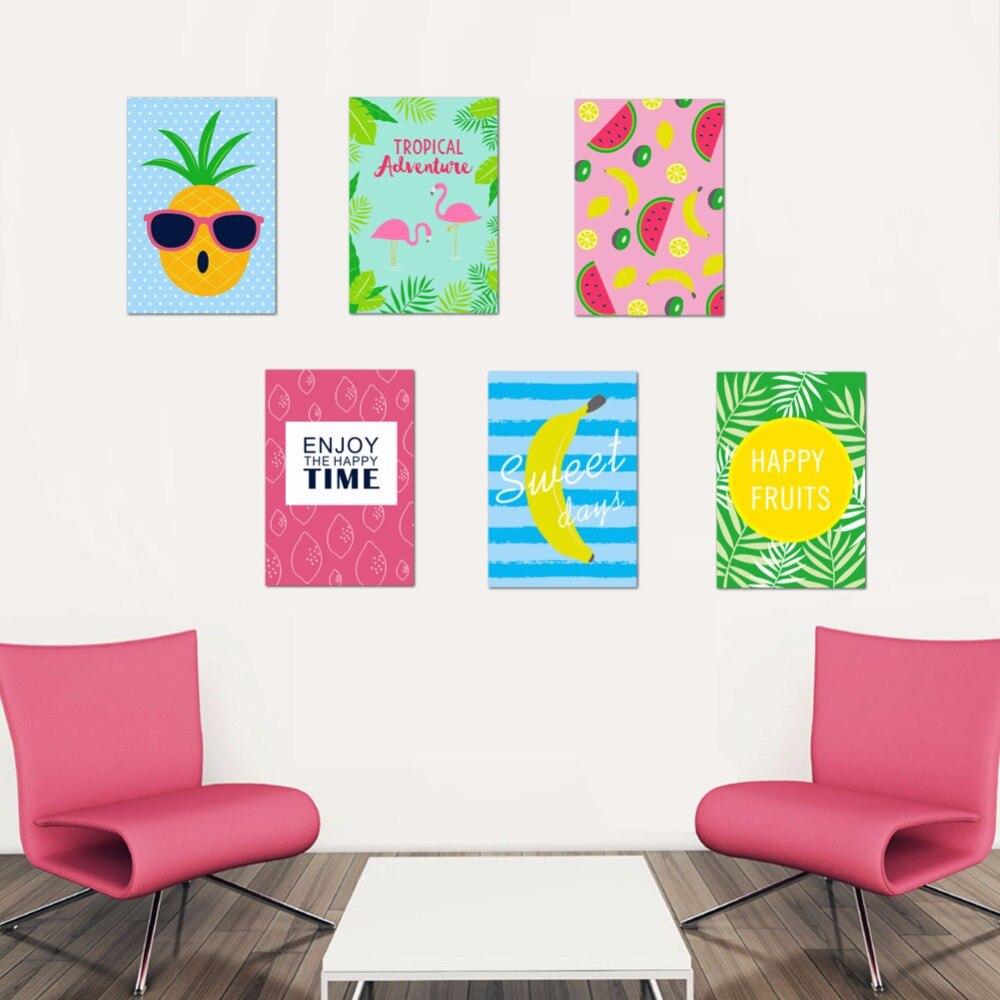 Dos desenhos animados Abacaxi Limão Banana Kiwi Melancia Padrão Abstrato Da Parede Da Arte Do Cartaz Decalques de Parede Decoração Da Sua Casa Papel De Parede Gráfico