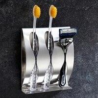 Organisateur de brosse a dents auto-adhesive en acier inoxydable  support mural pour brosse a dents  nouvelle collection