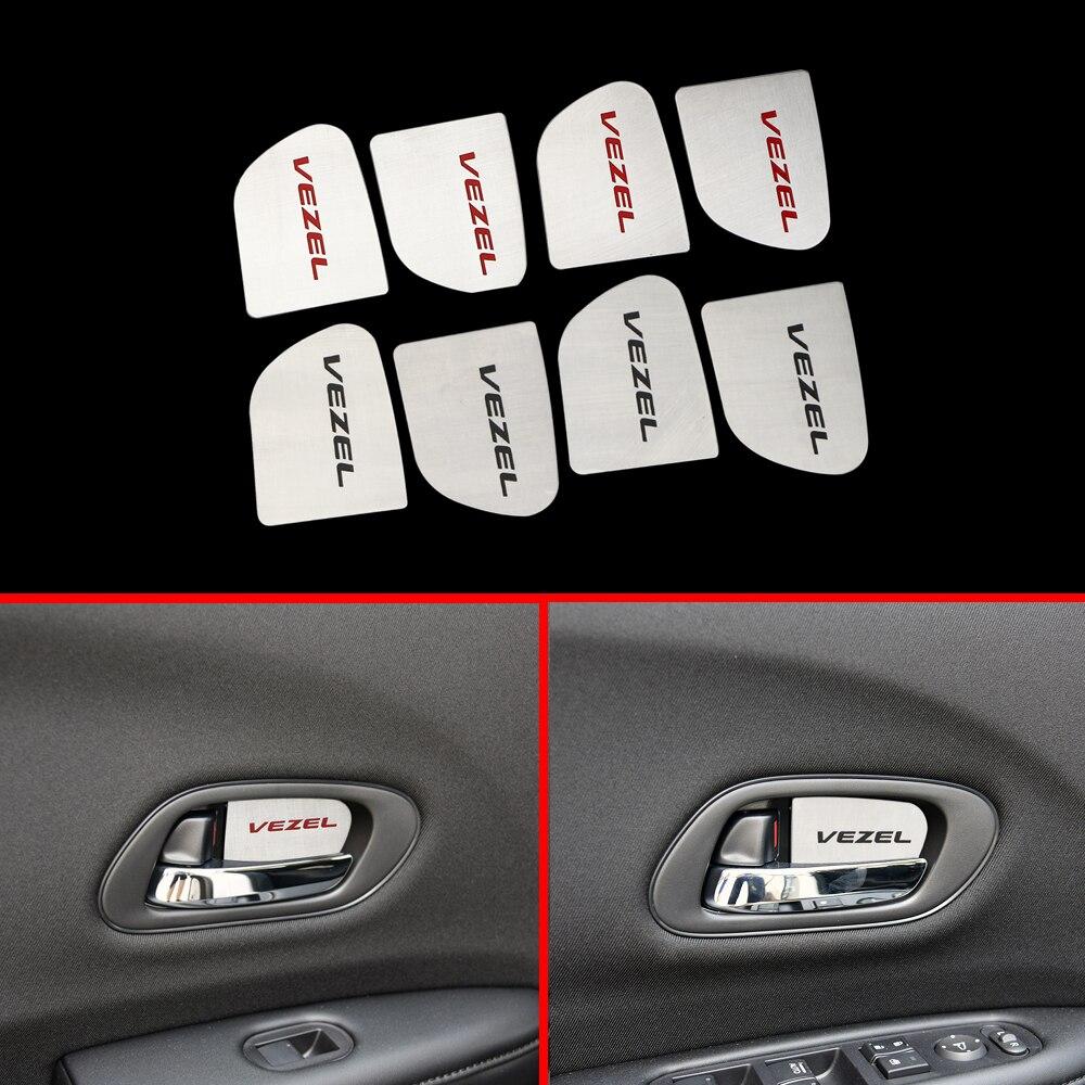 4 pçs/set Inner Porta Bacia Decoração Tampa Da Guarnição Do Carro Adesivos Apto para Honda Vezel HR-V VFC 2015 2016 2017 2018 2019 Acessórios