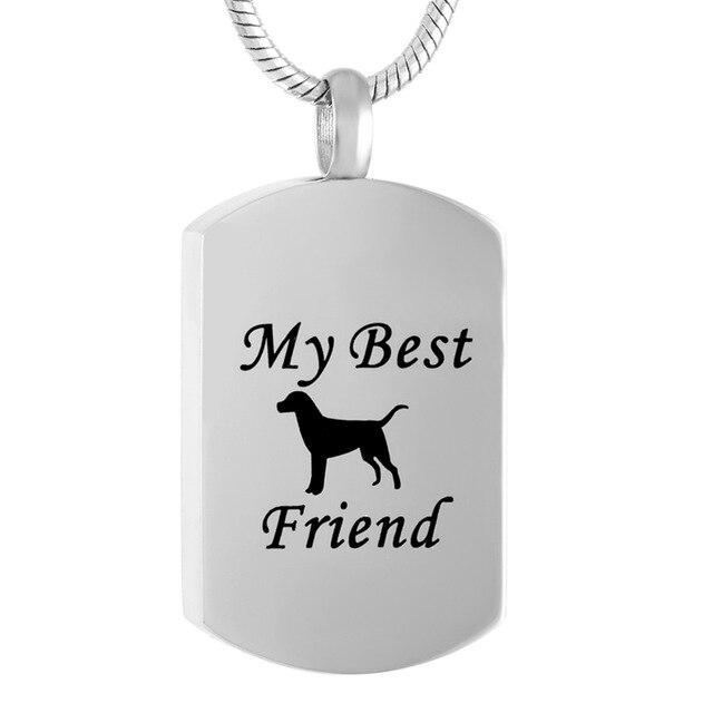 IJD9118 Animal Funeral recuerdo perro y pata impresa de perro Etiqueta de acero inoxidable collar de urna de incineración para mascotas de mi mejor amigo
