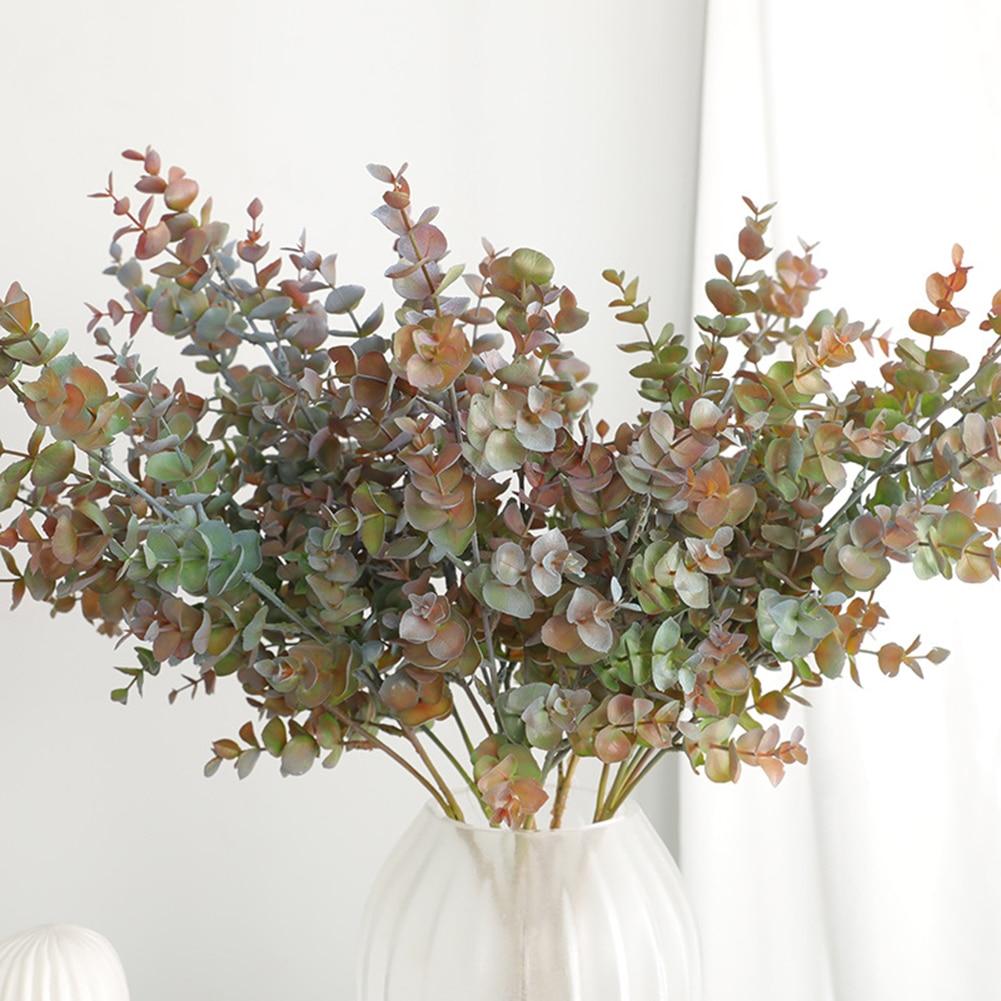 3fork Simulation green plant single eucalyptus leaf imitation dry branch artificial fake flower wedding shooting prop home decor