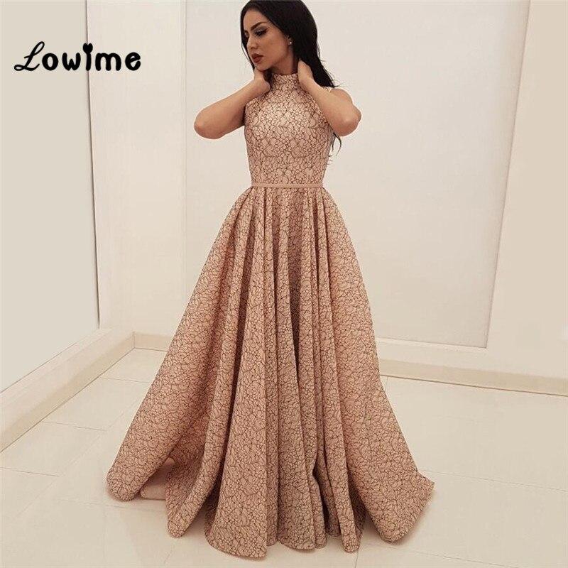 Vestidos De Noche línea A Rosa Vestidos De baile De graduación De encaje árabe turco De Dubai Aibye Vestidos formales vestido De fiesta 2018 vestido De noche