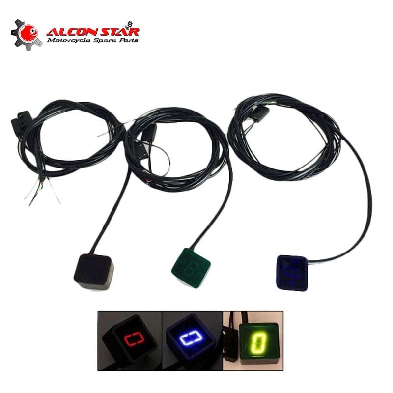 Alconstar- 3 цвета цифровой светодиодный индикатор переключения передач для мотоцикла, дисплей, нейтральный рычаг переключения передач, датчик, ...
