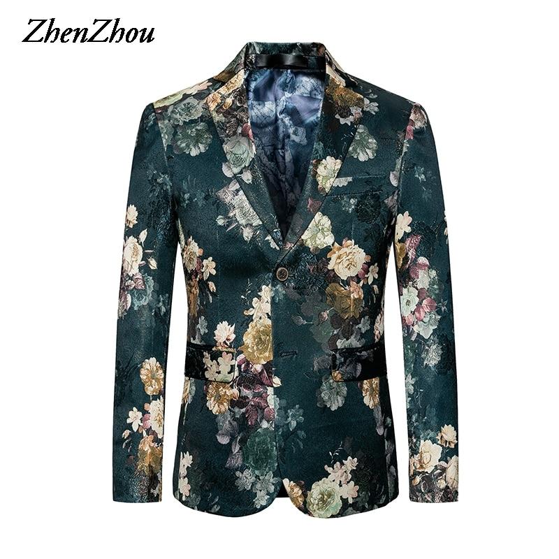2021 Casual Blazer Mens Slim Fit Suit Men Blazer Jacket Male Plus Size 5XL 6XL Costume Homme Mens Fl