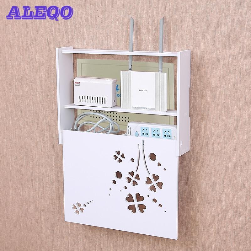 Wireless Wifi Router Box PVC Wall Shelf Hanging Plug Board Bracket Storage Box 22 Style