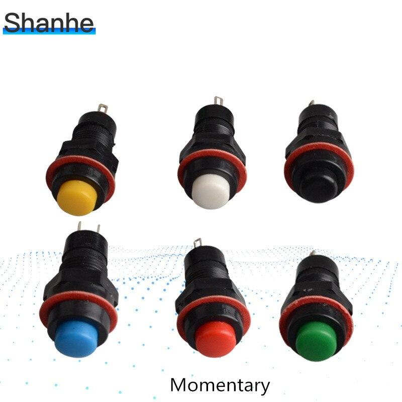 100 Uds. Interruptores momentáneos de botón sin bloqueo orificio de montaje 10mm fijación automática