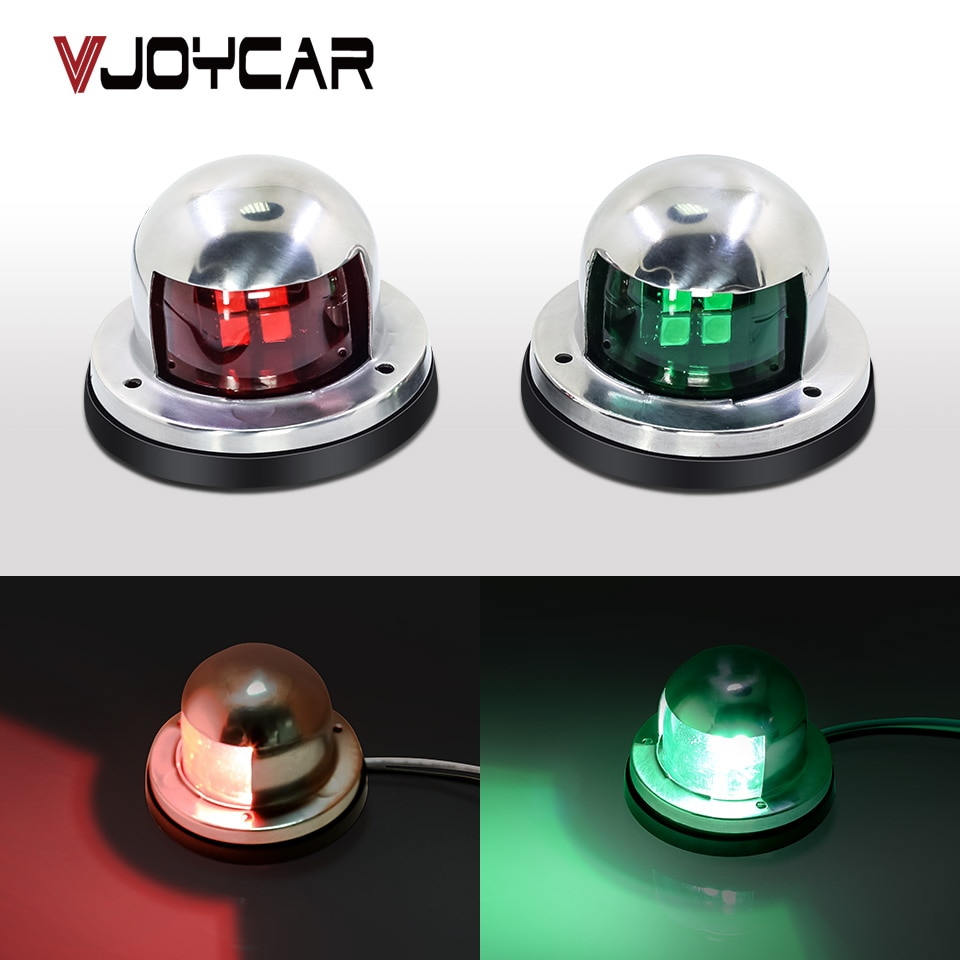 12V из нержавеющей стали навигационный светильник LED красный зеленый сигнальный