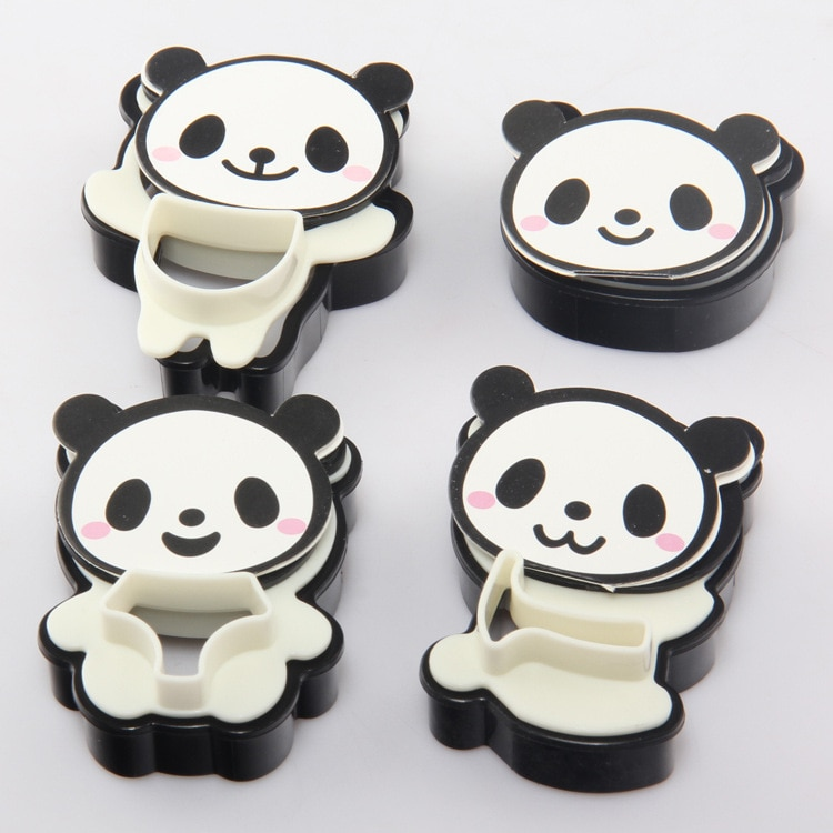 Mano Panda de dibujos animados galletas cortador sello Rvs Set de moldes para galletas herramientas para hornear cortador utensilios para decoración de pasteles 4 unids/set molde para hornear