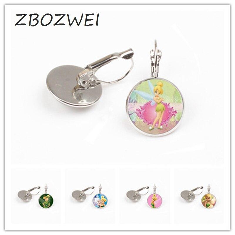 ZBOZWEI 2018 New Fashion earring Cute TinkerBell earring Women Men Accessories for Child Girls Glass Cabochon earring