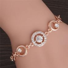 Rond Micro mosaïque cubique zircon Rose or Bracelet bijoux cristal autrichien de haute qualité en gros coeur fleur Bracelets