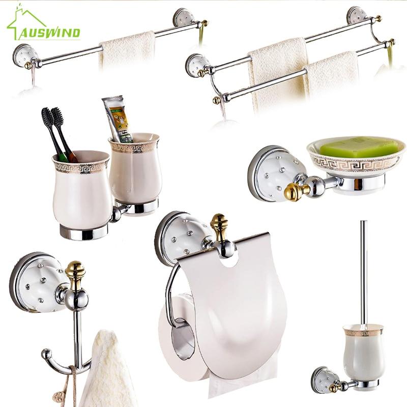 AUSWIND Silver Polished Brass Modern Solid Wall Mounted  Star Diamond Bathroom Accessories  Bathroom Set