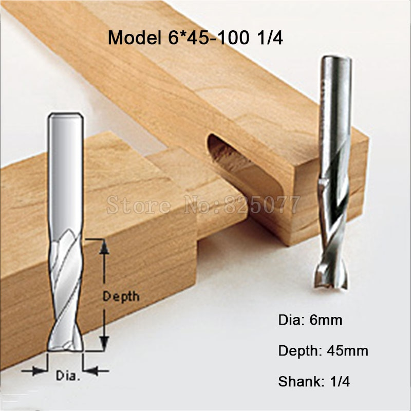 1PCS Woodworking Milling Cutter Dia 6mm, Upcut Spiral Router Bit, 1/4 Shank, Model 6*45-100 1/4 JF1652 enlarge