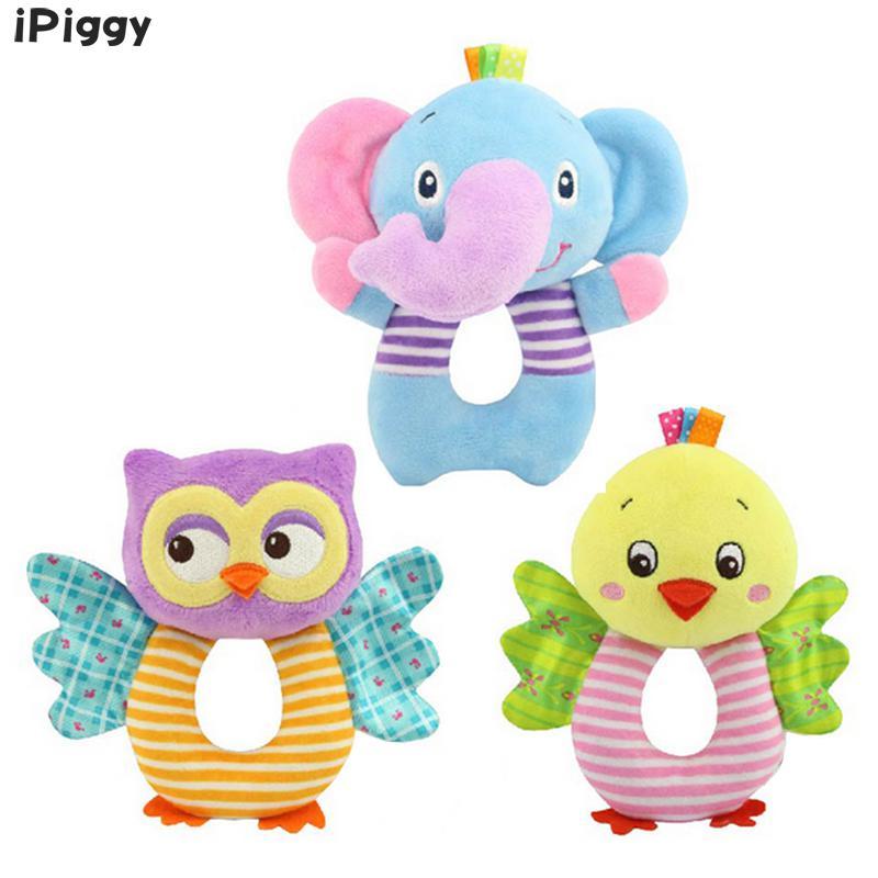 IPiggy, juguetes para bebés recién nacidos, búho de dibujos animados/elefante, sonajeros para bebés, sonajeros de mano, para niños pequeños cascabel, juguetes de peluche, jouet enfant