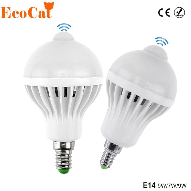 E14 LED del Sensor de movimiento PIR bombilla 5W 7W 9W 110V 220V Led lámpara Auto Led inteligente infrarrojos PIR movimiento del cuerpo Sensor de luz
