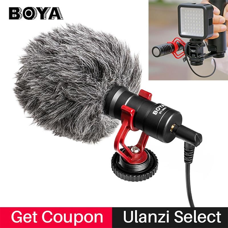 BOYA BY-MM1 مكثف تسجيل الفيديو ميكروفون على كاميرا تسجيل الدخول آيفون سامسونج كانون DSLR Zhiyun السلس 4 استقرار