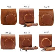 Étui de sac dappareil photo en cuir souple rétro pour Fujifilm Instax Mini 7s 8 8 + 9 Mini 25 50 70 90 étui de poche protecteur pour Mini instantané