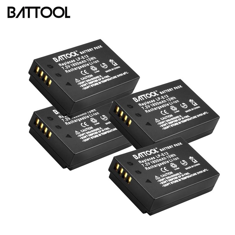 BATTOOL 4 Uds 1800mAh baterías LP E12 LP-E12 para Canon rebelde SL1 EOS 100D EOS M EOS M2 EOS M10 Mirrorless Digital Camera