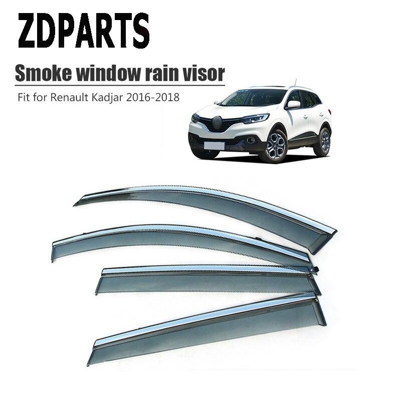 ZDPARTS 4 Uds deflector de viento de coche protector solar para lluvia viento visera cubierta Trim accesorios para Renault Kadjar 2016 2017 2018 ABS