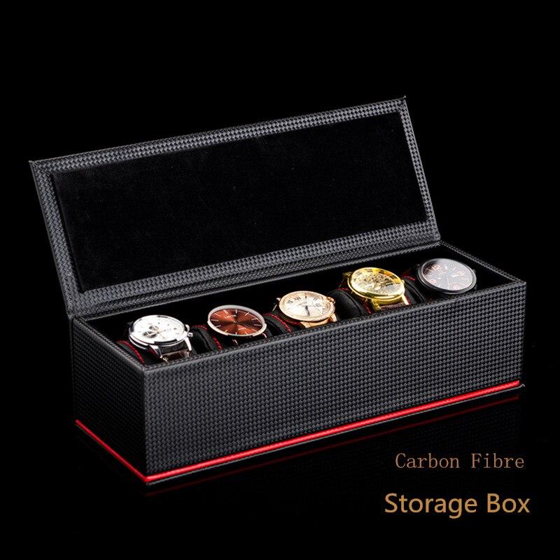 5 fentes en cuir montre boîtes de rangement boîtier noir en fiber de carbone montre affichage organisateur hommes montre mécanique porte-cadeau