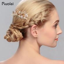 Delicado peine de pelo con cuentas de cristal de plata/oro rosa accesorios de boda corona de boda de diamante de imitación velo de boda FH10