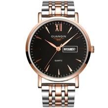 Mens Watches Top Brand Luxury GUANQIN Business Men Fashion Quartz Watch Gold Stainless Steel Strap Wristwatch relogio masculino