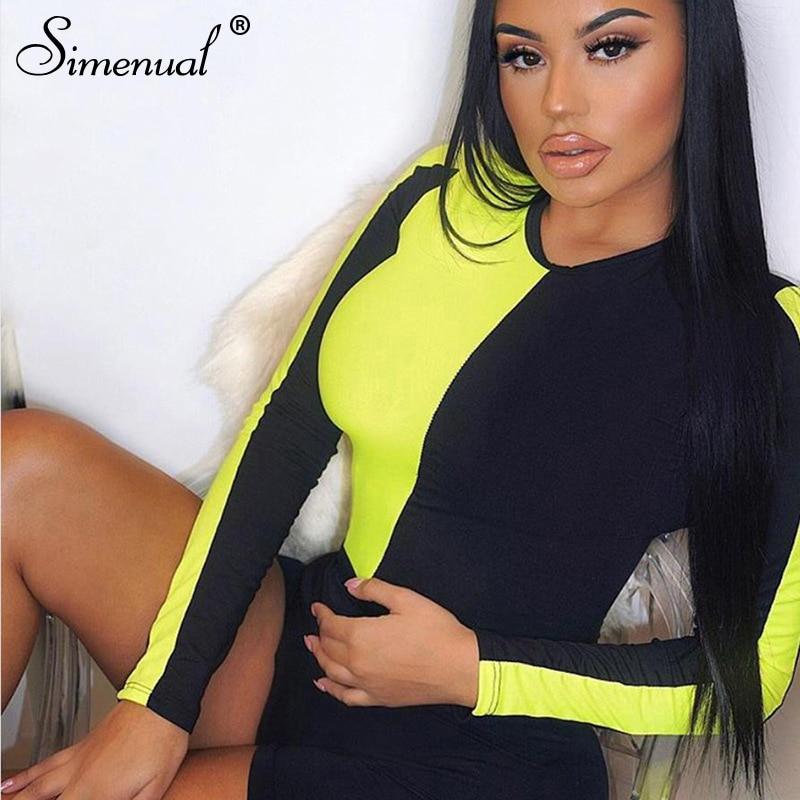 Simenual Patchwork Casual Frauen Neon Body Bodycon Fashion Langarm Strampler Farbe Blocking Mode Ein Stück Bodys Heißer