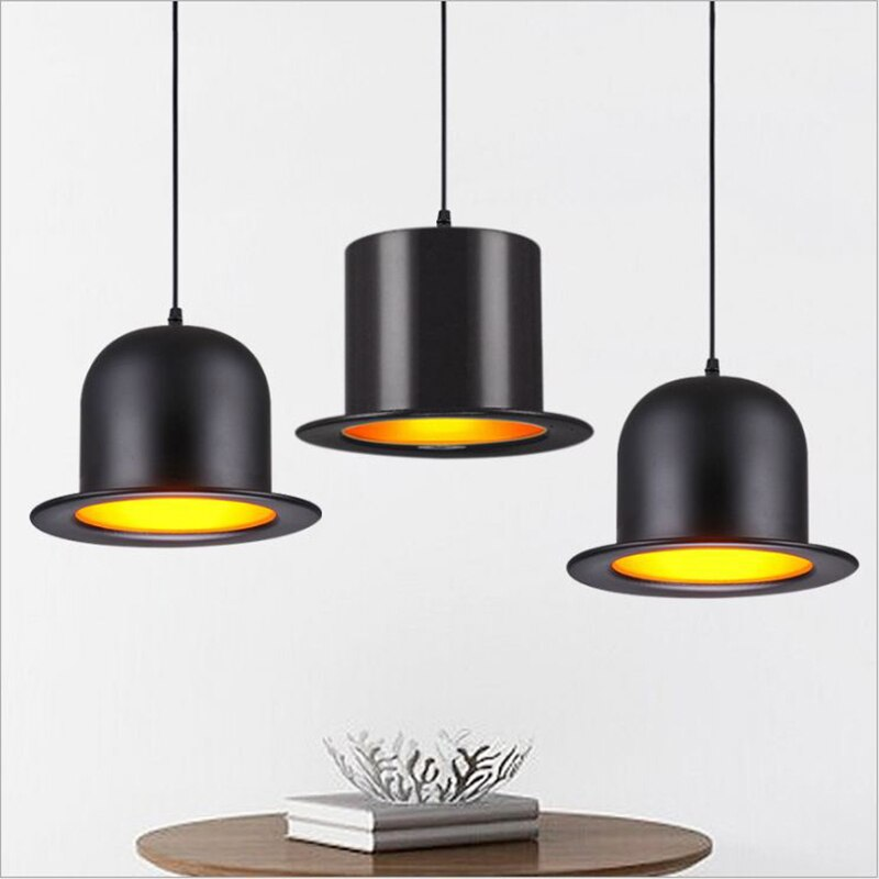 Lámpara de sombrero WOERFU de estilo europeo del Norte, lámpara colgante de aluminio E27, luces colgantes postmodernas