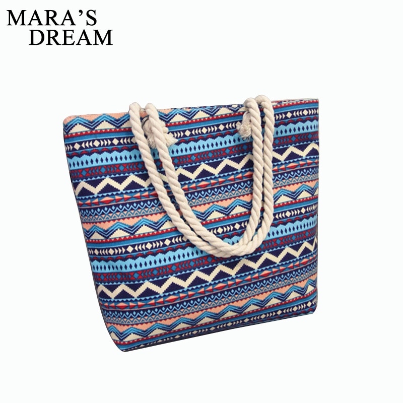 Mara dream s sonho 2020 bolsa feminina floral grande capacidade tote lona bolsa de ombro listrado ondas praia sacos casual bolsa feminina