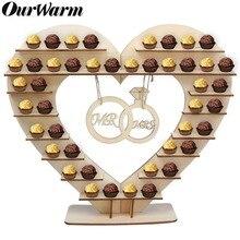 OurWarm-support de gâteau de mariage rustique   Bar de bonbons, Ferrero Rocher de chocolat, support de cœur en bois darbre, présentoir décoration de Table